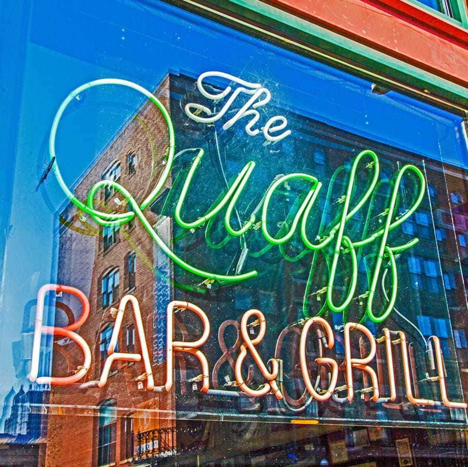 Colorful neon sign at The Quaff Bar and Grill