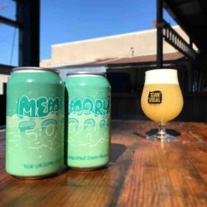 Torn Label Brewing beers sit on a table