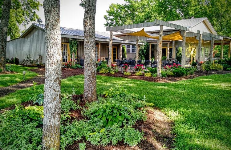 Lush gardens surround Nighthawk Vineyards