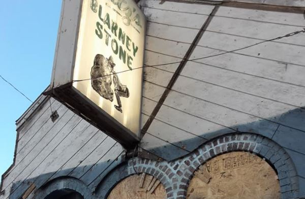 The Blarney Stone sign welcomes guests