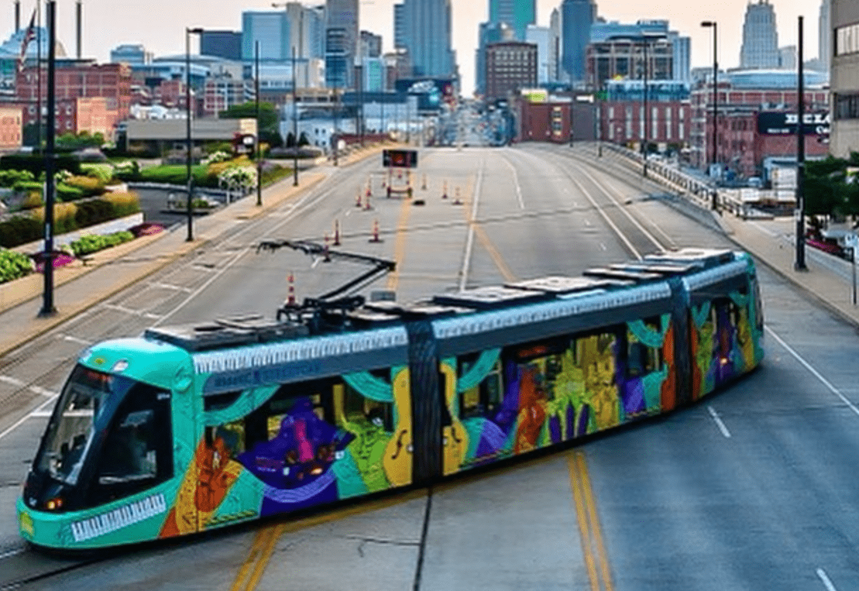 colorful street car in downtown KC